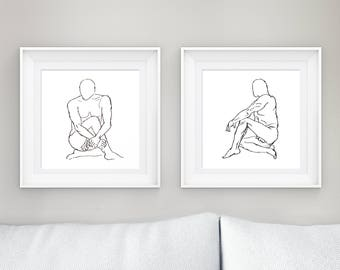 Line Figure Drawing Diptych- black and white, poster print, original art