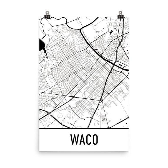 Waco Map Waco Texas Art Waco Print Waco TX Poster Waco