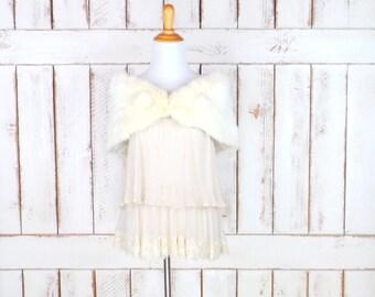 50s vintage light  ivory rabbit fur stole wrap/white fur capelet/caplet/wedding/bridal stole coverlet