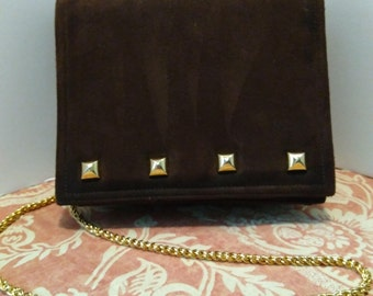Frenchy of California Brown Suede and Leather Shoulder Bag, Purse