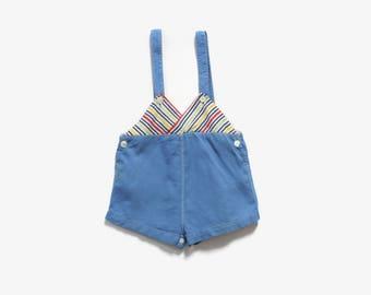 Vintage 30s- 40s Baby Romper / 1940s Striped Blue Cotton Overalls Jumper Onesie 2T