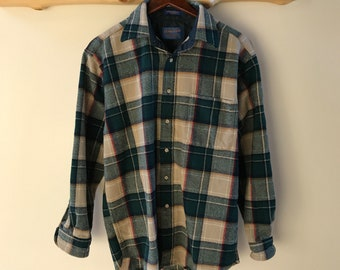 vintage plaid wool Pendleton button up, made in the USA, M