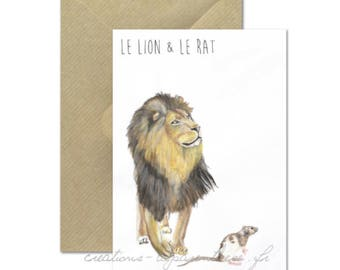 The lion and the Rat - watercolor Illustration card