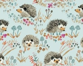 Enchanted Forest by Betsy Olmsted for Windham Fabrics - Fat Quarter of Happy Hedgehogs in Aqua