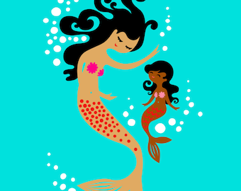 "8X10"" mermaid mother & daughter giclee print on fine art paper. teal, pink, tan and chocolate skin"