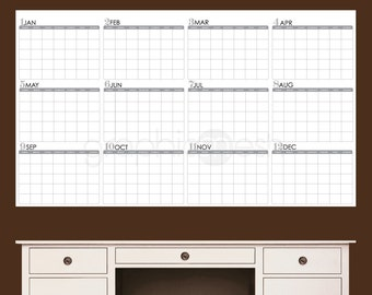 Dry erase wall decal YEARLY BLANK CALENDAR office interior decor by Decals Murals (26x45)