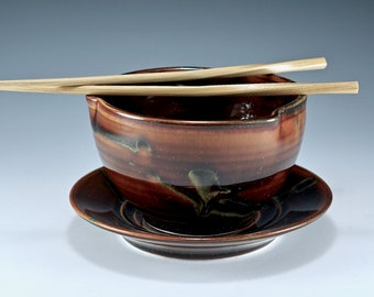 Stoneware Amber Soup Bowls with plate