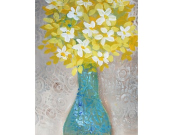 "Yellow Flowers in Turquoise Vase 5"" x 7"" Blank Greeting Cards (Set of 6). Print of Original Mixed Media Collage. Print-to-Order."