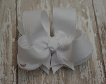 """Girls Hair Bow White Double Layered 4"""" Boutique Hairbow"""