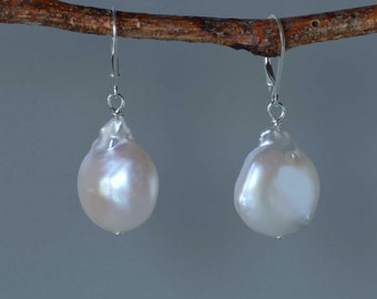 White Baroque Shape Pearl Earrings in Silver, Coin Shape Baroque Pearl Drop Earrings, Dangle Earrings, Bridal Earrings, June Birthstone