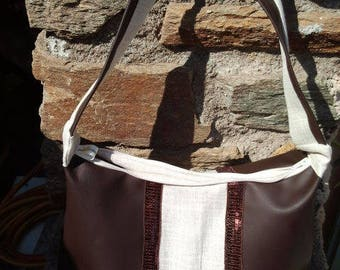 """nouvelle collection "" Sac Trapèze en simily cuir et lin"