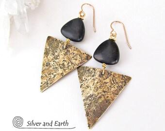 Triangle Earrings, Brass Earrings, Black Onyx Earrings, Contemporary Modern Geometric Jewelry, Black & Gold Earrings, Handmade Metal Jewelry