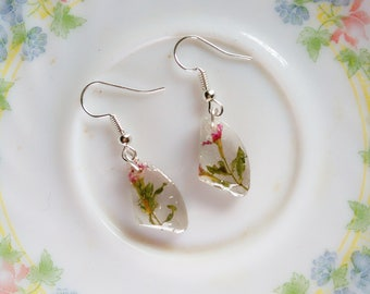REAL PLANT EARRINGS with plant inside- Nature inspired botanical earring- A perfect gift for anyone who loves nature- Miniature plant
