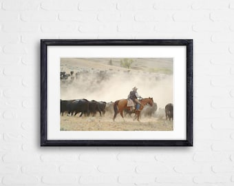 cow art gift Hereford calf bull cattle ranch farm painting pen&ink watercolor digital download