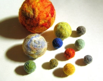 Needle Felted Solar System - Universe - Planets, Sun, Moon, and Pluto Decoration - Waldorf Educational Toy - Scientific Woolen Sculpture