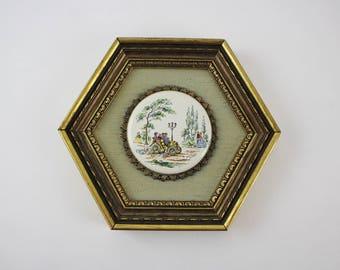Vintage Porcelain Cabochon Bois de Boulogne Paris Park Scene in Wooden Hexagon Picture Frame on Green Linen Mat Board