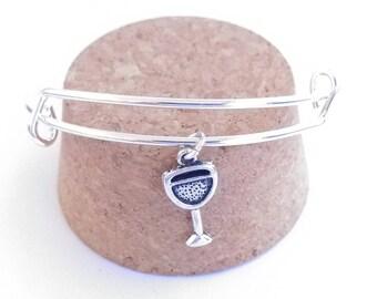 Wine glass charm bangle bracelet