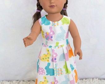 Handmade 18 Inch Doll Easter Bunny Dress, Pretty Pastel Easter Doll Dress, 18 Inch Doll Spring Maxi Dress, Cute Bunny Doll Dress