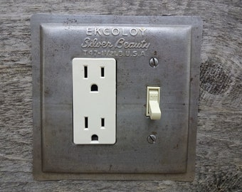 Light Switch Plate Cover Combo Covers Made From Antique Ekcoloy Baking Pans Bakeware Pan Industrial Lighting Decor GFC-3054C-R