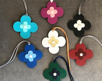 NEW! Double-Sided Leather/Fabric Quatrefoil Bag Charms