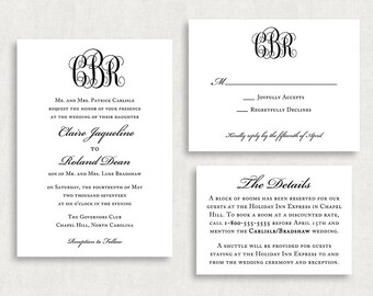 Wedding Invitation and RSVP Card (Monogrammed) - Digital File, PDF, DIY, Printable, Postcard, Monogram, Black and White, Southern, Rustic