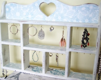 Cottage Chic Jewelry Display, The Ultimate Jewelry Hanger, Necklace, Earring, Bracelet Hanger, Tan & Light Blue
