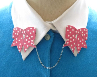 Polka Dot Bowtie Pink Polka Dot Bow Brooch Quirky Double Spring Pin