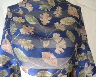 Vintage polyester scarf slightly sheer striped satin leaves made in Italy 13 x 60 inches