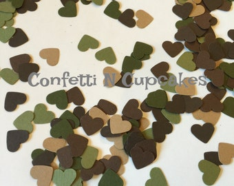 Camo Heart Confetti, Wedding Confetti, Camo Party Confetti, Camo Wedding, Camo Shower Decor, Camo Birthday Party Confetti, hunter confetti