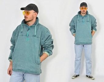 Vintage denim sweatshirt jacket vintage windbreaker hipster Rocker jean green oversized L-XXXL