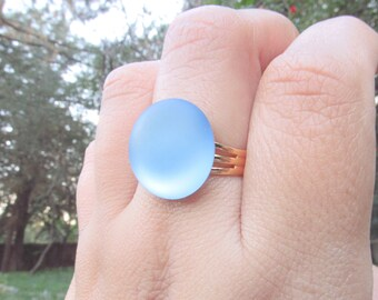 Illumunating Lunar Ring in Blue Thick Gold Plated Adjustable Ring