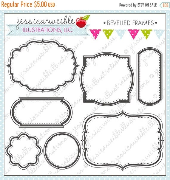 ON SALE Beveled Frames - Cute Digital Clipart for Commercial and ...