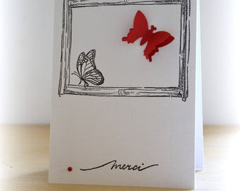 Red Butterfly thank you card