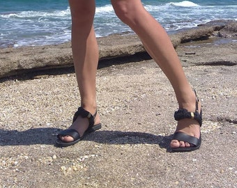 Greek Leather Sandals - Unique Design - Women's Ancient Rope Shoes - Knotted sandals