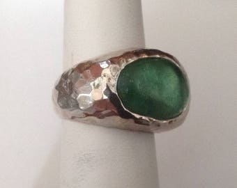 ROMAN GLASS ISRAEL Hammered Sterling Silver Asymmetrical Ring...Size 5-3/4