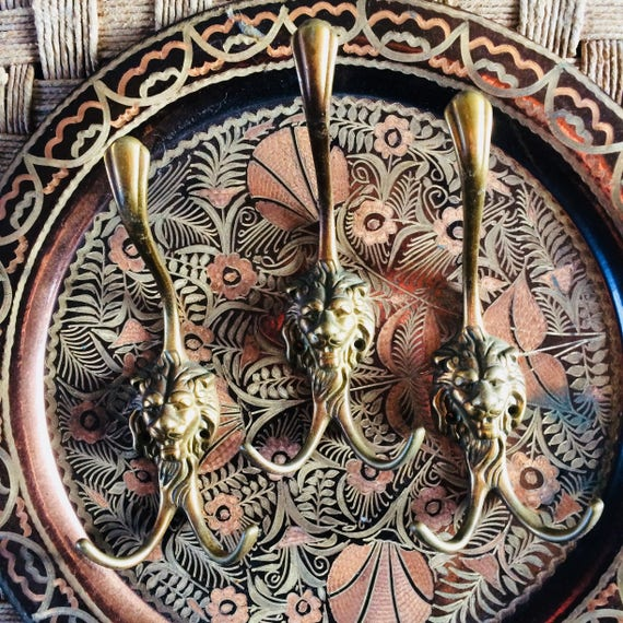 Brass Lionhook Vintage Koperen Haken Kapstok Brass