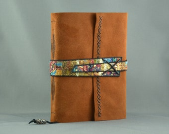 Handmade Leather Journal with Fiber Art Strap for Treasure Seekers