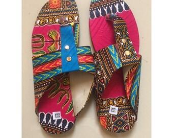 Beautiful flip flops size 40 dashiki pattern