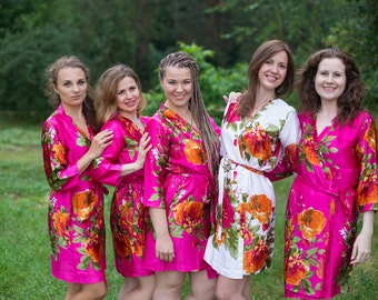 Magenta Large Floral Blossom Silk Bridesmaids robes | Kimono Style getting ready robes, Satin Robes, Gifts, Bridesmaid Robes, Silky Robes