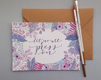 Custom Lettering with Watercolor Watercolor Border | purple floral | 5x7