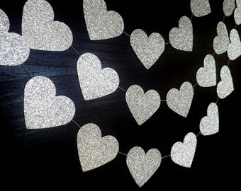 SPARKLEHEARTS:  Silver Glitter  Paper Heart Garland – Party, Wedding, Shower, Room Decoration
