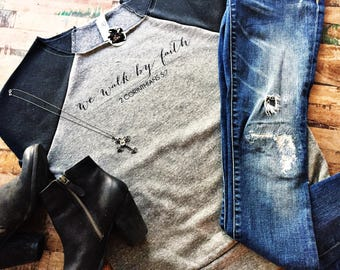 Short Sleeved Sweatshirt, Christian Sweatshirt, Love Conquers All Shirt, Be Anxious For Nothing, We Walk by Faith Sweatshirt, Christian Top
