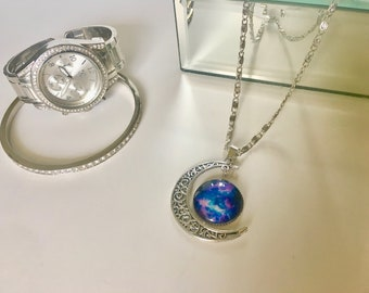 Large Crescent Moon Galaxy Pendant Necklace