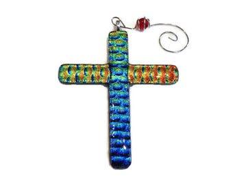 Dichroic Fused Glass Cross Ornament- Multi Colored
