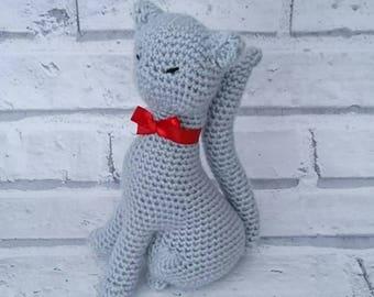 Crochet cat, Grey cat, Sitting cat, Cat ornament, Cat amigurumi, Cat lovers, Cat gift