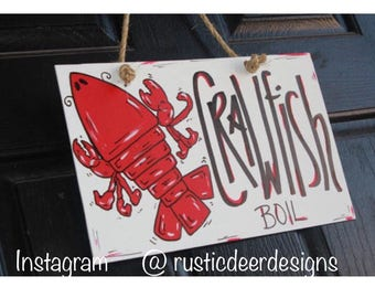 Crawfish boil sign, wood, Crawfish Boil Invitations, Rustic Crawfish door hanger Decor, Crawfish Sign, Summer Door Decoration, Mudbug, party