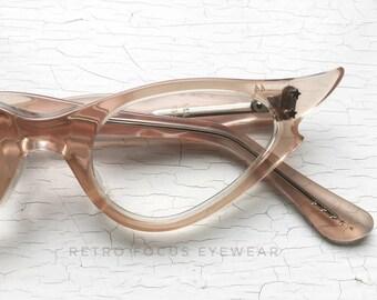 NOS 50's Pink Peach Nude Pale Flesh Eyewear Frames Cat Eye Glasses Eyeglass Frames USA Notched Pointy Tips