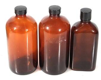 Darkroom Photography Brown Chemical Storage Bottles, Set Of 3//Brown Vintage Bottles