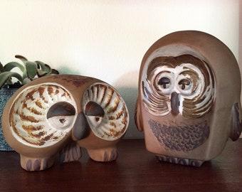 Midcentury Couple of Owls Jaru California Art Pottery 2 Owls Ceramic  Sculpture Figurines Collectibles