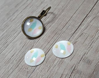 2 glass cabochons 12mm pastel feather